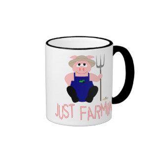 Pink Farmer Pig Pink Just Farmin' Coffee Mugs