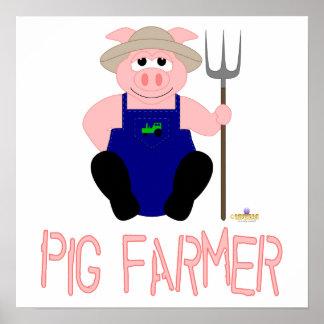 Pink Farmer Pig Pink Pig Farmer Posters