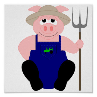 Pink Farmer Pig Posters