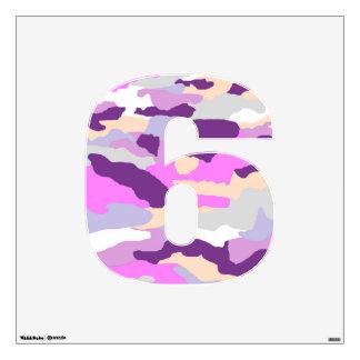 Pink Fashion Camo Wall Decal Number Six-Medium