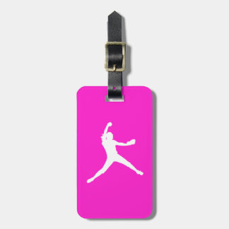 Pink Fastpitch Silhouette Luggage Tag