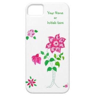 Pink Faux Applique Flowers Design on White iPhone SE/5/5s Case