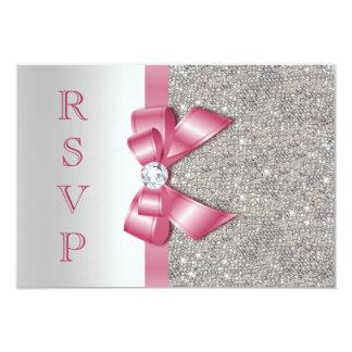 Pink Faux Bow & Diamonds RSVP 3.5x5 Paper Invitation Card