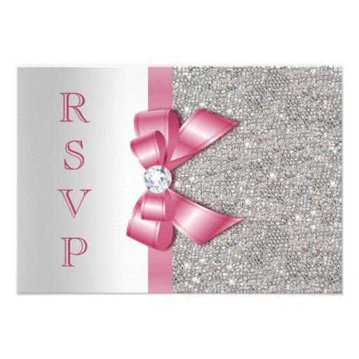Pink Faux Bow & Diamonds RSVP Announcement