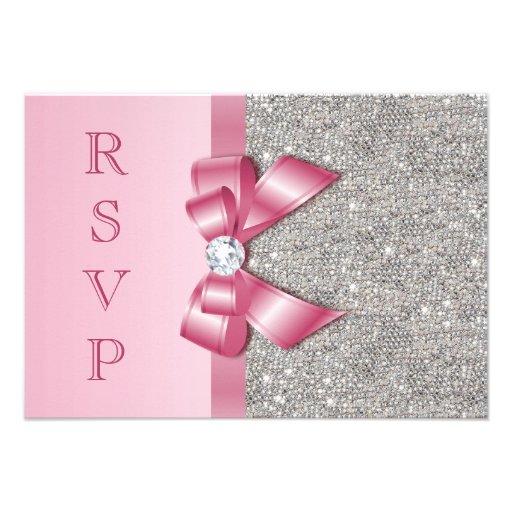 Pink Faux Bow & Diamonds RSVP Announcements