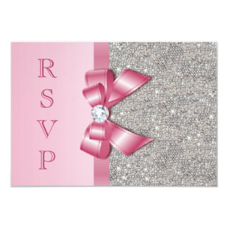 Pink Faux Bow & Diamonds RSVP Card