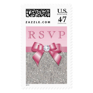 Pink Faux Bow & Diamonds RSVP Postage