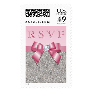 Pink Faux Bow & Diamonds RSVP Stamp