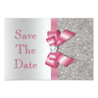 Pink Faux Bow & Diamonds Save The Date 3.5x5 Paper Invitation Card