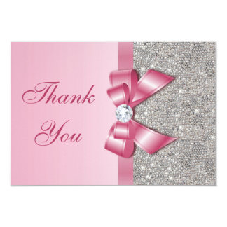 Pink Faux Bow & Diamonds Thank You 3.5x5 Paper Invitation Card