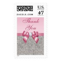 Pink Faux Bow & Diamonds Thank You Postage