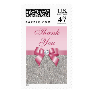 Pink Faux Bow & Diamonds Thank You Postage
