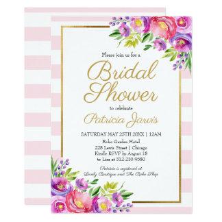 Pink & Faux Foil Gold Floral Bridal Shower Card
