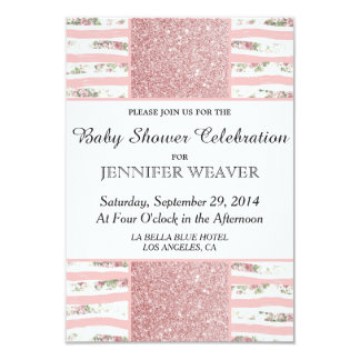 Pink Faux Glitter and Floral Brush Stroke Stripes 3.5x5 Paper Invitation Card