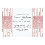 Pink Faux Glitter and Floral Brush Stroke Stripes 5x7 Paper Invitation Card