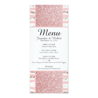 Pink Faux Glitter and Floral Brush Stroke Stripes Card