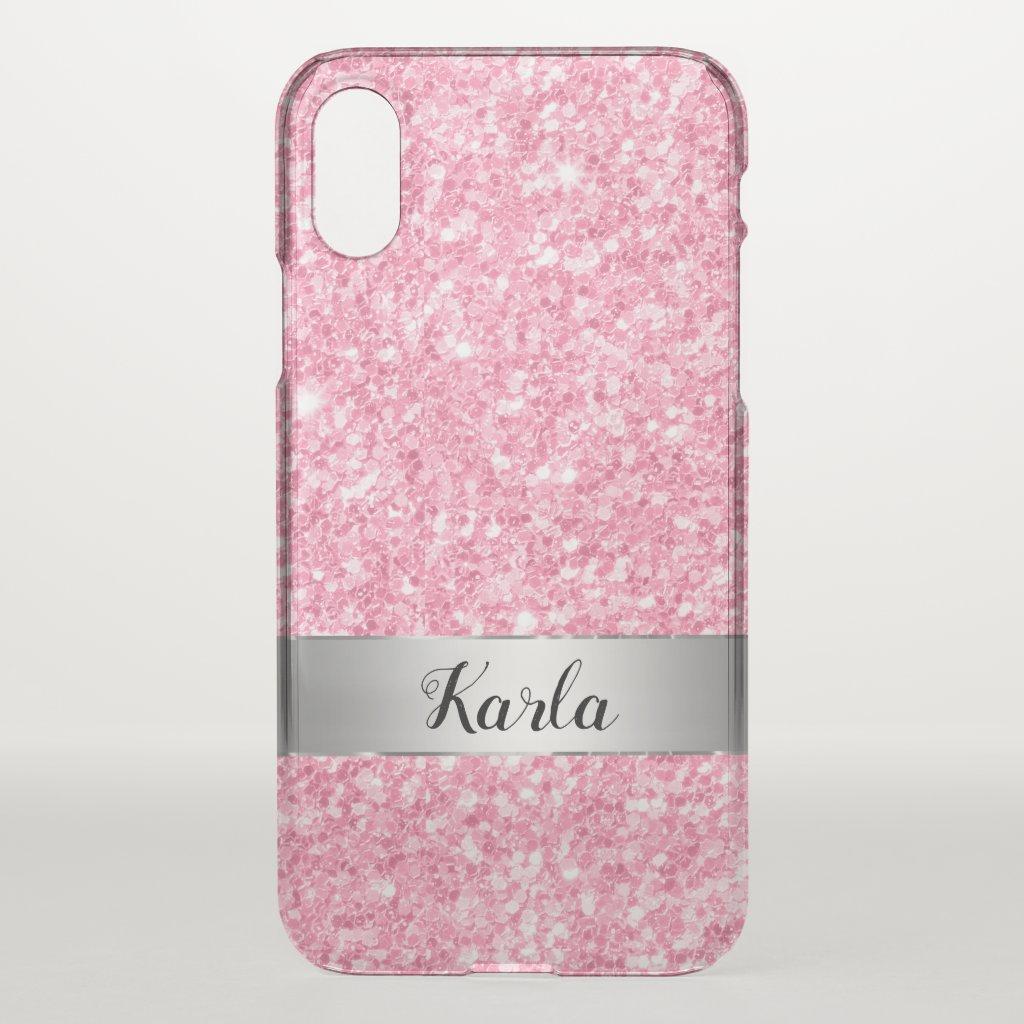 Pink Faux Glitter Custom Monogram