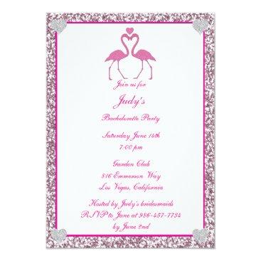 Beach Themed Pink Faux Glitter Flamingo Bachelorette Party Card
