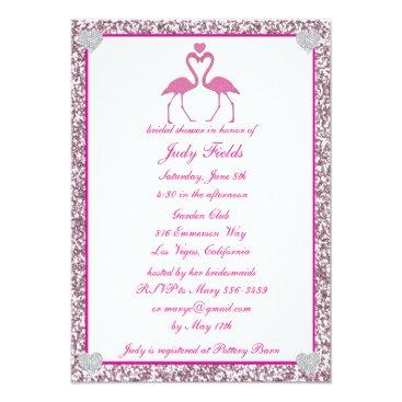 Beach Themed Pink Faux Glitter Flamingo Bridal Shower Invite