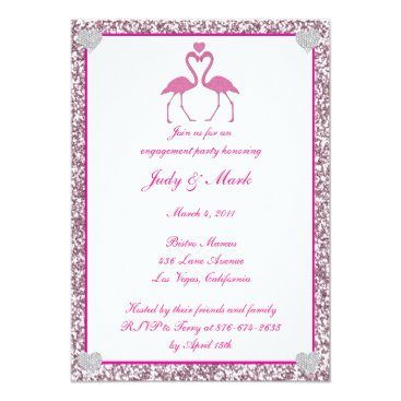 Beach Themed Pink Faux Glitter Flamingo Engagement Party Invite