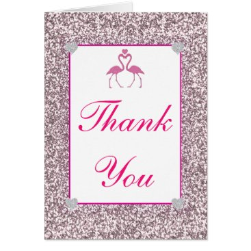Beach Themed Pink Faux Glitter Flamingo Love Thank You Card