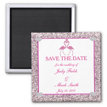 Beach Themed Pink Faux Glitter Flamingo Save The Date Magnet