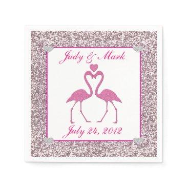 Beach Themed Pink Faux Glitter Flamingo  Wedding Paper Napkins