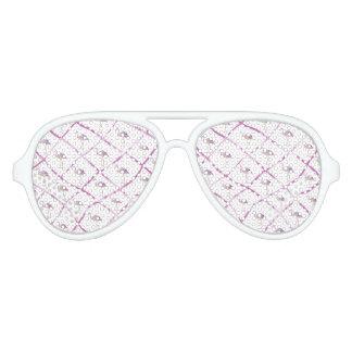 Pink faux glitter flamingos watercolor stripes aviator sunglasses