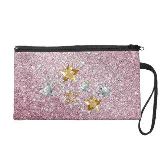 Pink Faux Glitter Gold & Silver Stars & Hearts Wristlet Purses