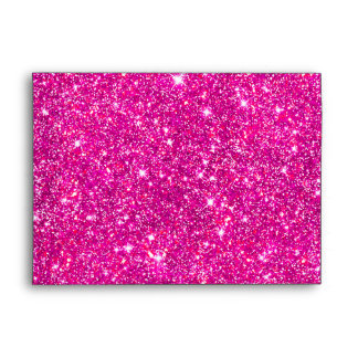 Pink Faux Glitter Shining Pattern Girly Envelope