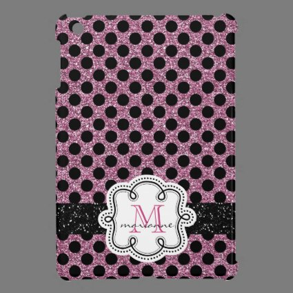 Pink Faux Glitter with Girly Monogram and Name iPad Mini Covers