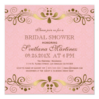 Pink & Faux Gold Floral Lace Bridal Shower Invite
