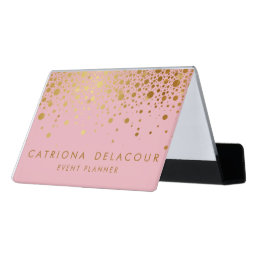 Pink Faux Gold Foil Confetti Business Card Holder
