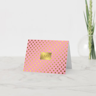 Pink Faux Gold Foil Polka Dots Monogrammed Note Card
