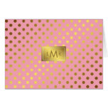 Pink Faux Gold Foil Polka Dots Monogrammed Stationery Note Card