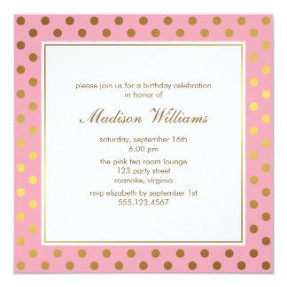 Pink Faux Gold Foil Polka Dots Pattern Card
