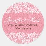 Pink Faux Linen Burlap & White Floral Lace Classic Round Sticker