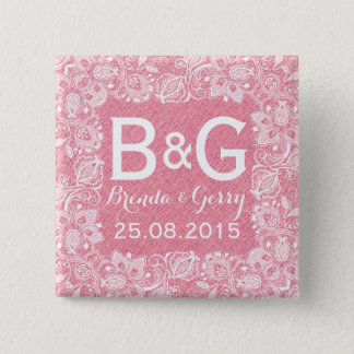 Pink Faux Linen & White Floral Lace Frame 2 Button