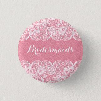 Pink Faux Linen & White Lace Bridesmaids Button