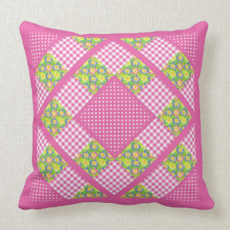 Pink Faux Patchwork, Primroses, Polkas and Gingham Throw Pillow