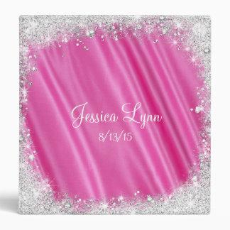 Pink Faux Satin & Silver Glitter, Sweet Sixteen Binder