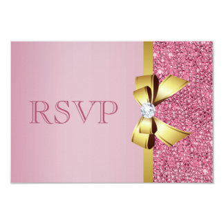 Pink Faux Sequins Gold Bow & Diamond RSVP Card