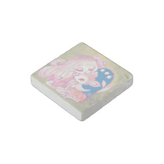 Pink Fawn Heaven Stone Magnet