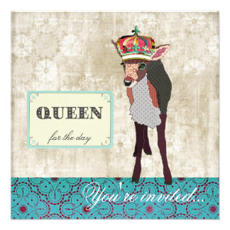 Pink Fawn Queen for the Day Teal White Invitatio Invite