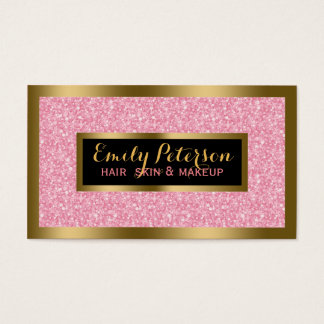 Pink Fax Glitter Gold Accents Makeup Business Card