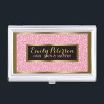 "Pink Fax Glitter Gold Accents Makeup Business Card Holder<br><div class=""desc"">Elegant pink faux glitter and sparkles with gold accents business card holder template.</div>"