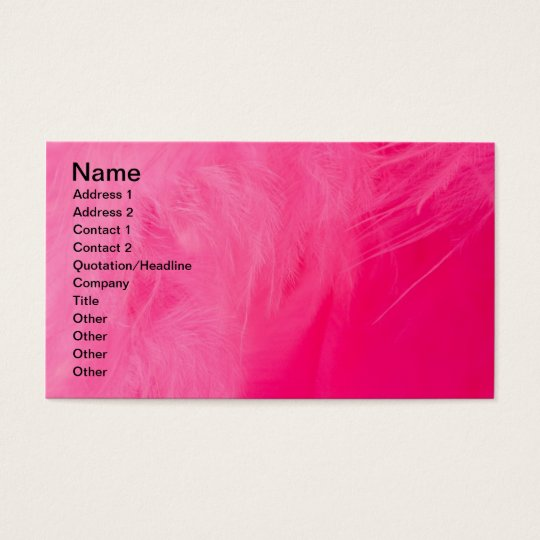 Pink feather business card