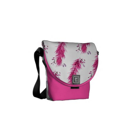 Pink feathers courier bag