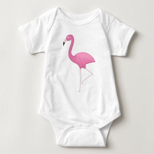 pink feathery flamingo baby bodysuit