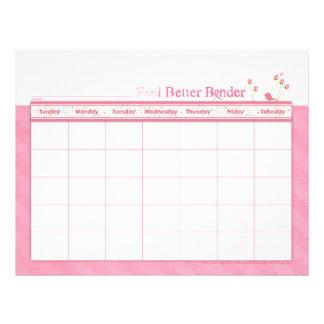 Pink Feel Better Binder Calendar Flyer